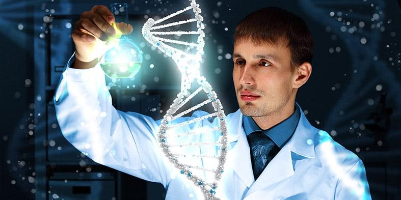 Stilizuotas genetiko-mokslininko atvaizdas